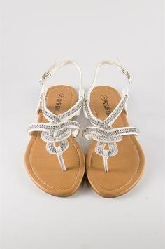 Woven Jeweled Thong Sandal - White from Sandals at Lucky 21. @Katrina Alvarez Wright now that you already found ones for the wedding! This website has tons of really cute ones for cheap! These also come in black.