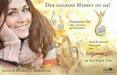 Gelbgold-Set mit Diamanten bei jewels24.de Das Set mit Ohrsteckern, einer Halskette mit Anhänger und einem Ring aus Gelbgold mit Diamanten, in der Farbe Weiß und dem klassischen Brillantschliff gibt es günstig direkt vom Hersteller aus Idar-Oberstein. Ob zu Weihnachten, Muttertag oder Ostern, unser Schmuck ist von höchster Qualität und ideales Geschenk. Weitere Geschenkideen finden Sie in unserem Schmuckshop. #schmuck #diamant