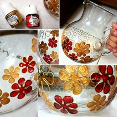 Glass painting with Vitrail by Maryam Besharati - autumn floral design (rosemaryglasses) Stained Glass Paint, Stained Glass Crafts, Stained Glass Designs, Glass Bottle Crafts, Bottle Art, Glass Painting Designs, Hand Painted Wine Glasses, Painted Jars, Decorated Jars