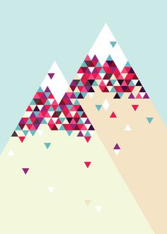 Twin Peaks Art Print by Attitude Creative Op Art, Graphic Design Illustration, Illustration Art, Mountain Art, Tattoo Mountain, Mountain Living, Geometric Art, Pattern Wallpaper, Graphic Design Inspiration