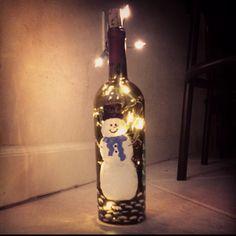 Painted wine bottle lamp
