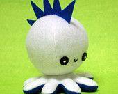 "White mohawk octopus plushie - 4.5"""