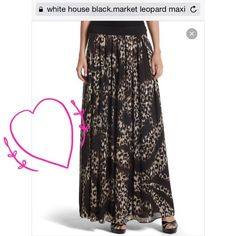 White House Black Market maxi Size 00 chiffon leopard print maxi fully lined side zipper and elastic waist waist can be up to a 28 inches fully stretched .skirt is 41 inches long , leopard print with black white and tan design White House Black Market Dresses
