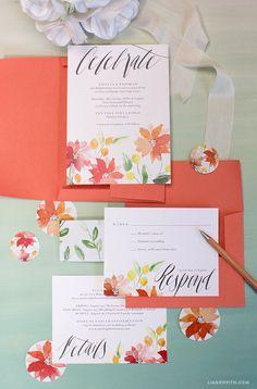 Watercolor Wedding Invitations - Lia Griffith