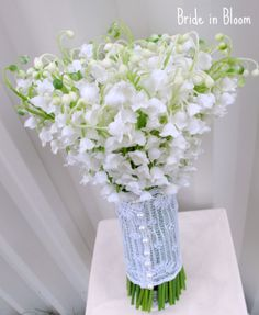 LILY OF THE VALLEY: Symbolizes the return of happiness, purity of heart, sweetness, tears of the Virgin Mary, you've made my life complete, humility, happiness, love's good fortune. Truly a special wedding flower to make every bride feel like a princess.  $64.95
