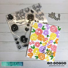 Quick & Bright Hello Flowers. Concord & 9th Flower Turnabout Photopolymer, Orange You Sweet Dies. Concord And 9th, Concorde, Card Making, Bright, Paper Crafts, Scrapbook, Flowers, Flower Power, Fill