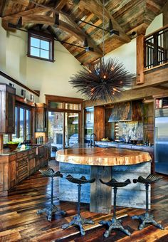 This modern rustic retreat was designed by Terra Firma Custom Homes in collaboration with JJ Interiors, located in the mountains of Aspen Springs, Colorado.