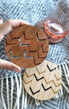 Wood Coasters Engraved Wood Coasters Chevron by GrainDEEP