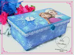 caixa decorada frozen - feita presentear princesas