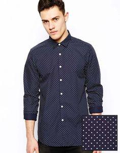 Navy Polka Dot Longsleeve Shirt by Asos. Buy for $47 from Asos