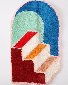 Funky Rugs, Stair Art, Stairway To Heaven, Punch Needle, Hand Embroidery, Arts And Crafts, Logo Design, Carpet, Kids Rugs