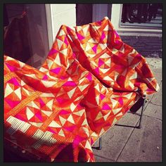 #phulkari just arrived. #gettingsomefreshair #antiqueweddingshawl #obssessed #silkembroidery #nickyrising @nickyrising (at Nicky Rising Showroom)