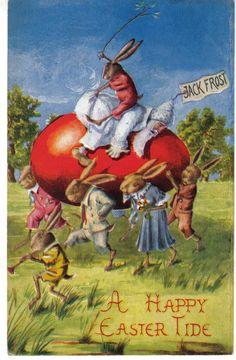 Easter Dressed Rabbits Fantasy Jack Frost on Egg Antique Holiday Postcard P2008   eBay