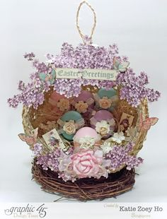 Easter Egg Nest Decor #graphic45 #3dart #easter #sweetsentiments