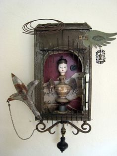 Assemblage art piece for show at Kaleid gallery. Mixed Media Boxes, Mixed Media Collage, Collage Art, Found Object Art, Found Art, Art Antique, Assemblage Art, Small Art, Recycled Art