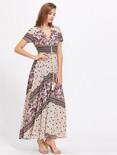 686c2b6cd1f78 Women s Button up Split Floral Print Flowy Party Maxi Dress categories  include long floral dress