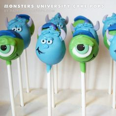 Monsters University Cake Pops. These are absolutely hilarious!!!!!!!!!!!!!!!