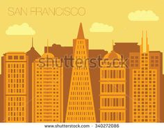 Vector skyline of famous buildings of San Francisco. Colorful flat style panorama of the metropolis. Vector illustration of apartment blocks in a city. Panorama of San Francisco.