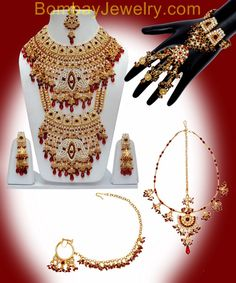 Bridal necklace set with marron white and golden touch