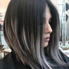 Take 2. This is truly so beautiful! @melanniemillan #colormelt #grayhair #blackhair #silverhair #lob #btcmelanniemillan