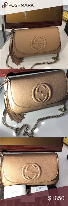 8f06fa387035 #poshmark #fashion #shopping #style #Gucci #Handbags. See more. Gucci Soho  Beige Chain Crossbody 5362224 Authentic. Made in Italy. New never used.