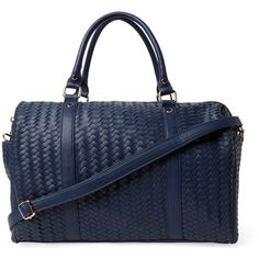 Deux Lux Women's Sullivan Woven Vegan Leather Weekender - Dark... ($89) ❤ liked on Polyvore featuring bags and luggage