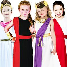 Roman Girls Fancy Dress Ancient Rome Grecian Toga Kids Childrens Book Costume in Clothes, Shoes & Accessories, Fancy Dress & Period Costume, Fancy Dress Book Costumes, Full Body Costumes, Diy Costumes, Rome Costume, Costume Dress, Greece Costume, Greek Toga, Fancy Dress, Dress Up