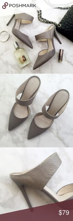 "Kenneth Cole Gray Pointed Toe Mules Details: • Size 7.5 • Gray leather  • Pointed toe • 4"" heel • Brand new in box  07141614 Kenneth Cole Shoes Mules & Clogs"