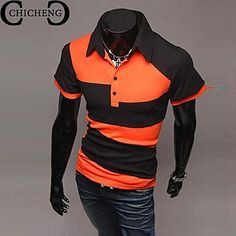 new product ba75b f8763   8.24  Men s Chic   Modern Polo - Print   Color Block   Plaid Modern Style    Long Sleeve. Mens FashionFashion OutfitsPolo T ShirtsShort ...