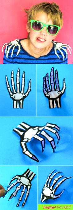 DIY Skeleton hand shoulder epaulettes! FREE printable template at happythought.co.uk