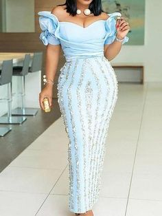Material: Polyester Silhouette: Bodycon Dress Length: Floor-Length Sleeve Length: Short Sleeve Neckline: Off Shoulder Combination. Latest African Fashion Dresses, African Print Fashion, Women's Fashion Dresses, African Attire, African Wear, Africa Dress, Stripes Fashion, Shows, Lace Dress