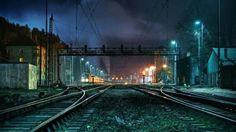 夜 線路 景色 night railroad