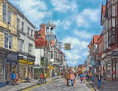 Guildford High Street - Surrey Artists Art Gallery Painting: Malcolm Surridge