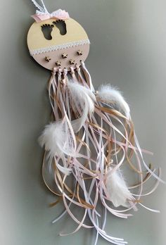 Personalized dreamcatcher new born gift Baby girl gifts ideas Baby boy gift ideas Baby feet ornament Feather New born Unique new born gift by eAGAPIcom on Etsy