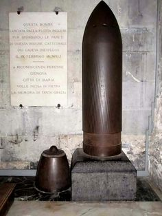 This bomb hit and pierced the walls of San Lorenzo Cathedral (see next pin) in Genova. It fortunately failed to blast...  (English Navy bombing of Genoa, February 9th, 1941)