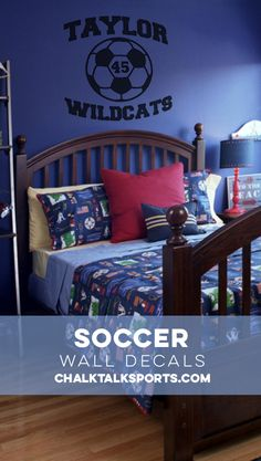 This personalized soccer ball wall decal is so cool, I can't wait to order mine! Soccer Room Decor, Soccer Ball, Wall Signs, Wall Decals, Wall Art Prints, Toddler Bed, Cool Stuff, Furniture, Home Decor