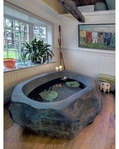 """The Natural Stone Bathtub is the work of inspired bathroom interior design firm natural element."" -Your StoneBath A stone bath? Arquitectura Logo, Stone Bathtub, Stone Bathroom, Master Bathroom, Washroom, Best Decor, Bathroom Trends, Bathroom Ideas, Traditional Bathroom"