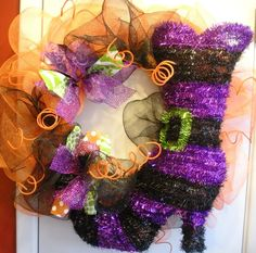 Halloween Wreath with Witches boot by AllisonStrider on Etsy, $60.00