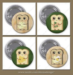 Cute Little Toasts Collection: Cheese Cream and Chives, Salmon Paté and Parsley, Honey, and last but not least Butter and Egg. Collect them all ($2.20 per button). Click on image for all available gifts with these designs. #food #kitchen #toast #cute #gifts #buttons