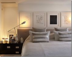 White and grey modern bedroom by Kelly Hoppen - House interior decoration inspiration - #bedroom #living