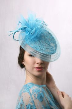 Sea Blue Fascinator, Melbourne cup hat, Turquoise lace hat, Royal Ascot Hat, Kentucky derby Fascinator, Deep sky blue hat, Azure fascinator