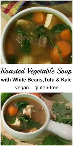 This vegan roasted vegetable soup with tofu white beans and kale is slightly spicy easy to make delicious and will help keep you warm this winter! Roasted Vegetable Soup, Vegetable Soup Healthy, Roasted Vegetables, Healthy Soups, Healthy Drinks, Healthy Eating Recipes, Vegetarian Recipes, Healthy Eats, Best Soup Recipes