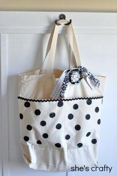 She's crafty: Polka Dot Canvas Bag http://www.hobbycraft.co.uk/hobbycraft-canvas-bag-43-cm-x-38-cm-x-10-cm/562205-1000