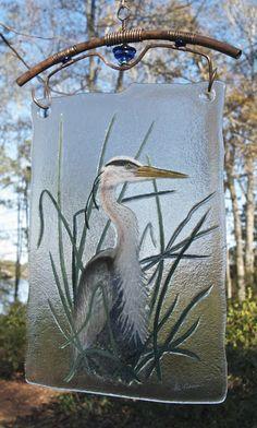 Blue Heron by Stan Harmon Glass Art