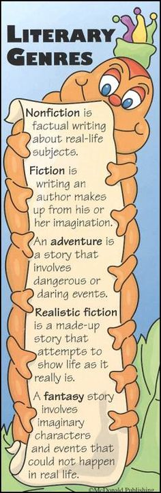 Literary Genres Bookmark~ This cute bookworm comes in two styles and costs thirty-five cents a piece. Library Skills, Class Library, Library Lessons, Library Week, Teaching Genre, Teaching Reading, Teaching Ideas, Library Activities, Reading Activities