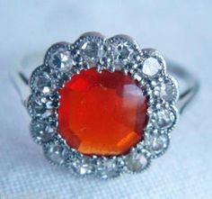 Antique Edwardian Ring - Fire Opal & Diamonds set in  Platinum (#3486)