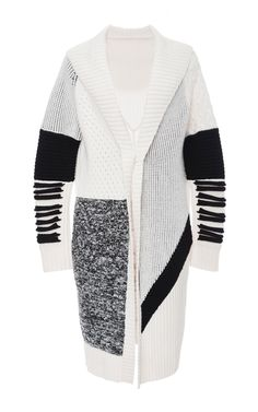 Black Oversized Shawl Collar Chunky Knit Cashmere Cardigan by PRABAL GURUNG Now Available on Moda Operandi