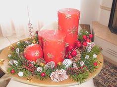 composizione centrotavola con candele