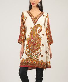 Another great find on #zulily! Yellow & Red Paisley Tunic #zulilyfinds