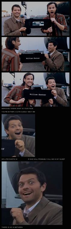 Misha and Jared presenting a signed director's chair back for Shatner's charity auction [gifset] - Misha; either cute and cuddly or psychotic. There is no in between.